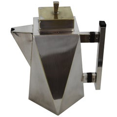 "Art Deco Geometric Italian Silver Plate Coffeepot ""Charles Boyton"" Style"