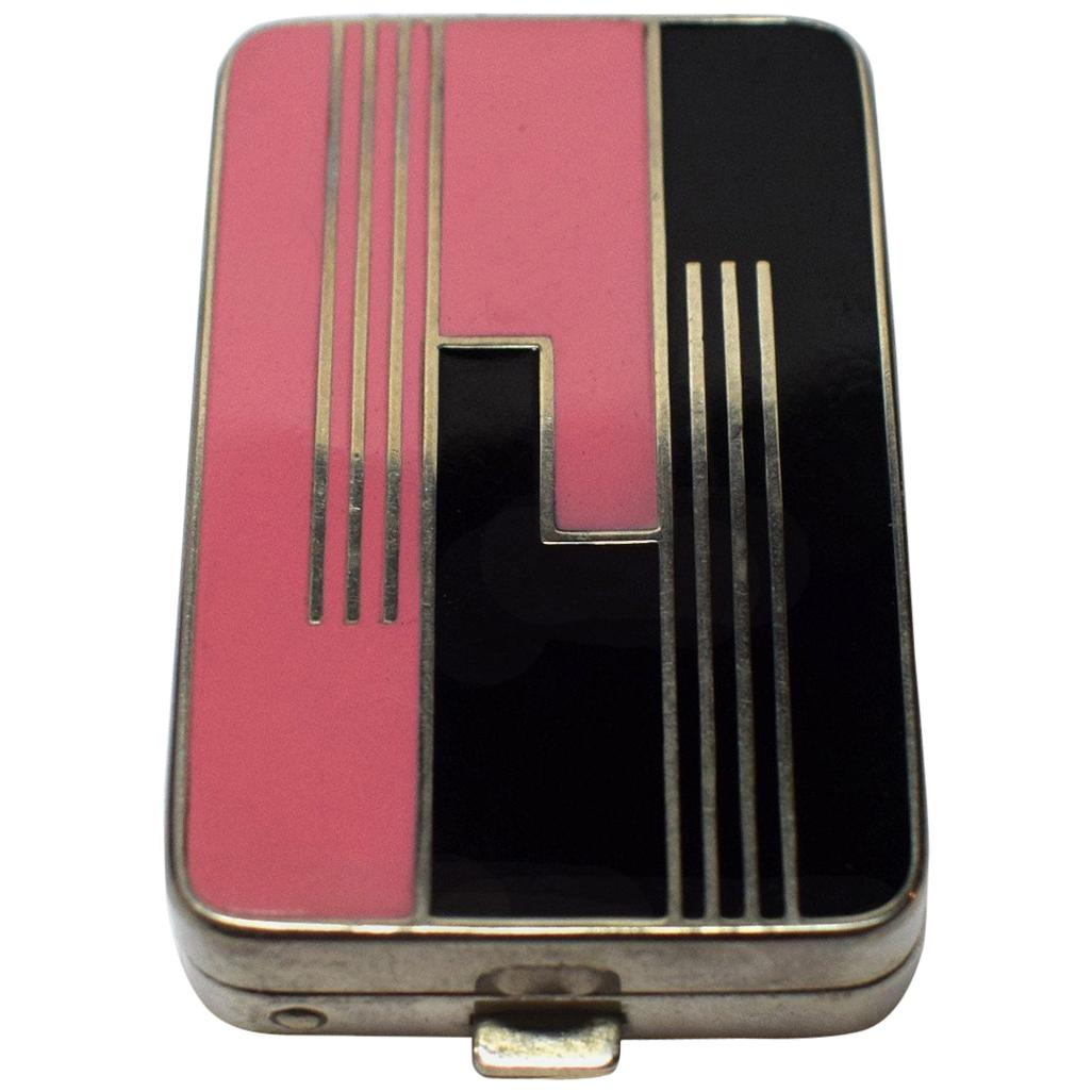 Art Deco Geometric Ladies Powder Compact Du Barry