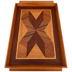 Art Deco Geometric Marquetry Wood Tray in Mahogany