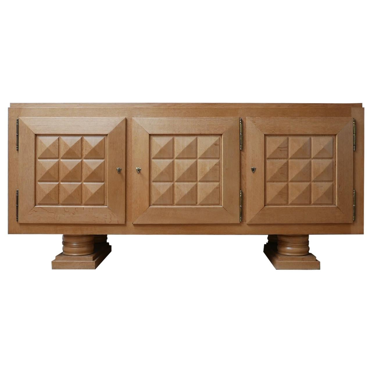 Art Deco Geometric Oak French Midcentury Credenza