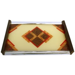 Art Deco Geometric Reverse Painted Tray, 1930s