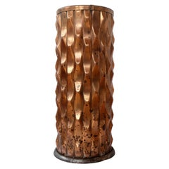 Art Deco Geometric Sculptural Copper Umbrella Stand Stick Stand Machine Age
