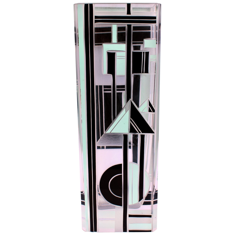 Art Deco Geometrically Patterned Glass Vase, circa 1930