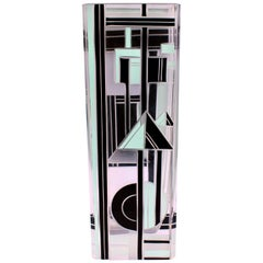 Art Deco Geometrically Patterned Glass Vase, circa 1930