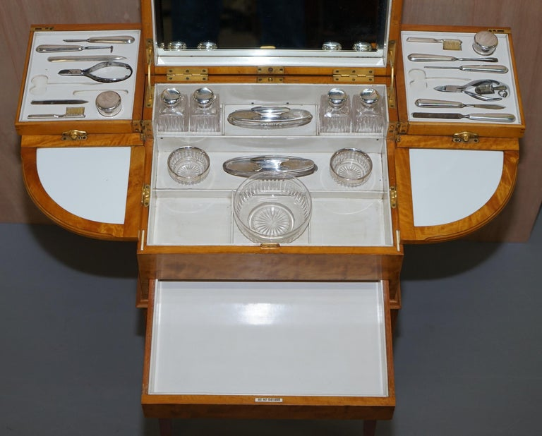 Art Deco George Betjemann & Sons Metamorphic Dressing Table Sterling Silver Set For Sale 7
