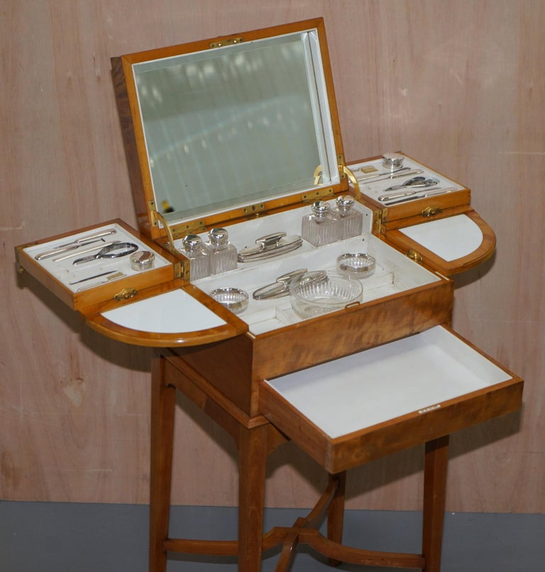 Art Deco George Betjemann & Sons Metamorphic Dressing Table Sterling Silver Set For Sale 11
