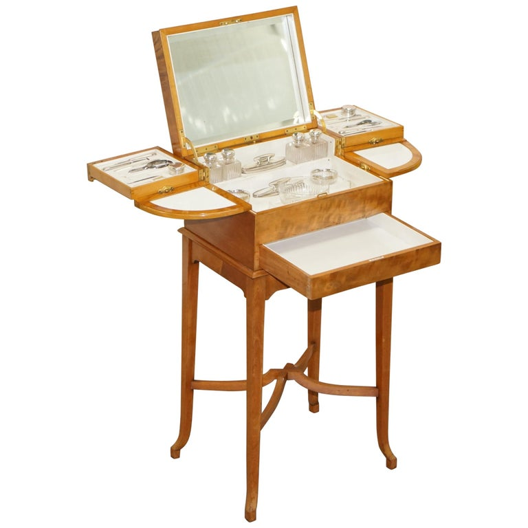 Art Deco George Betjemann & Sons Metamorphic Dressing Table Sterling Silver Set For Sale