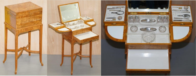 English Art Deco George Betjemann & Sons Metamorphic Dressing Table Sterling Silver Set For Sale