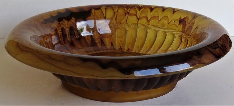 Art Deco George Davidson Large Amber Cloud Glass Bowl Pattern 1910D, Ca 1930 For Sale 4