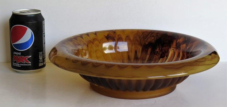 Art Deco George Davidson Large Amber Cloud Glass Bowl Pattern 1910D, Ca 1930 For Sale 13