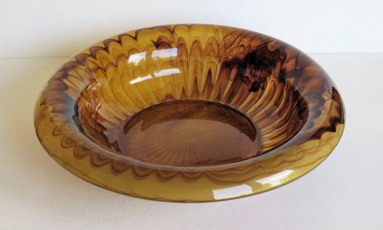 English Art Deco George Davidson Large Amber Cloud Glass Bowl Pattern 1910D, Ca 1930 For Sale