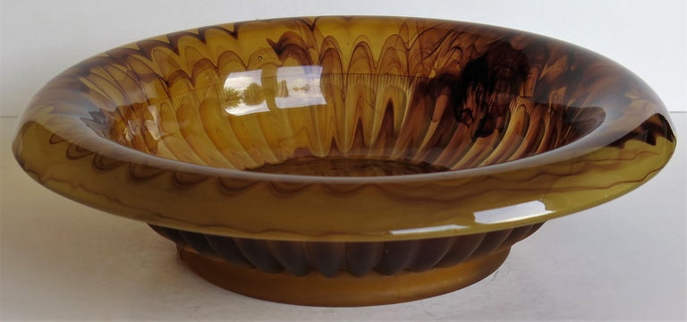Pressed Art Deco George Davidson Large Amber Cloud Glass Bowl Pattern 1910D, Ca 1930 For Sale