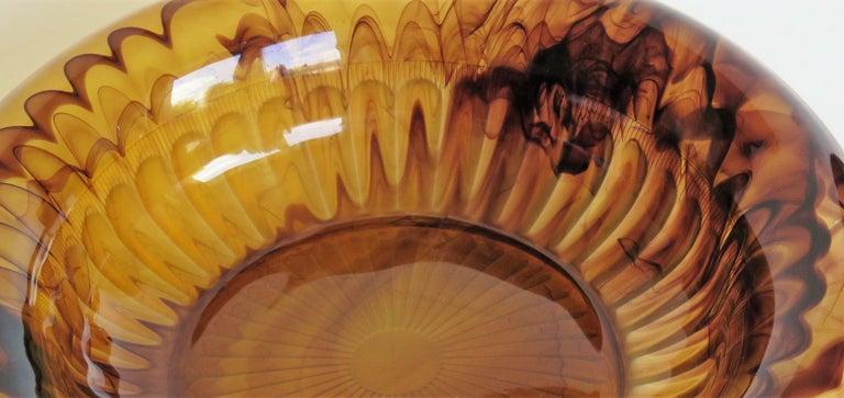 20th Century Art Deco George Davidson Large Amber Cloud Glass Bowl Pattern 1910D, Ca 1930 For Sale
