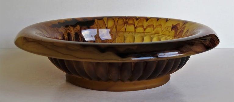 Art Deco George Davidson Large Amber Cloud Glass Bowl Pattern 1910D, Ca 1930 For Sale 2