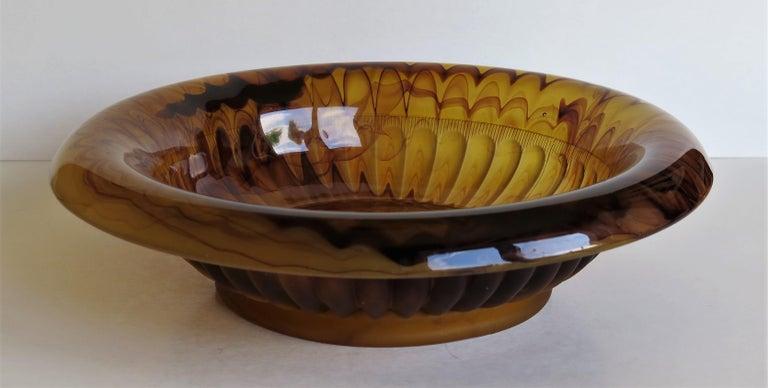Art Deco George Davidson Large Amber Cloud Glass Bowl Pattern 1910D, Ca 1930 For Sale 3