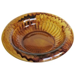 Art Deco George Davidson Large Amber Cloud Glass Bowl Pattern 1910D, Ca 1930