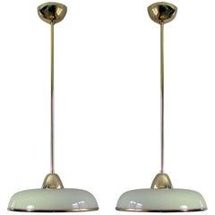 Art Deco German Bauhaus Cream Opaline Glass and Brass Pendants, Set of 2