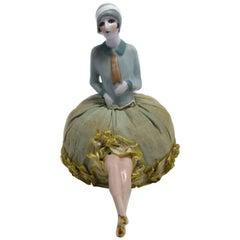 Art Deco German Flapper Girl Pin Cushion with Legs