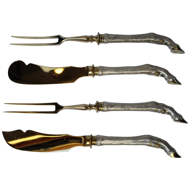 Art Deco German Set of Four Silver Serving Cutlery Style Black Forest For Sale
