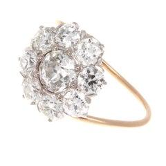 Art Deco GIA 0.63 Carat Old European Cut Diamond Cluster Gold Platinum Ring