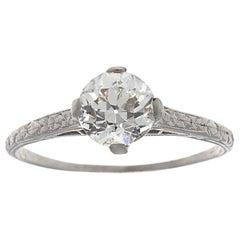 Art Deco GIA 1.01 Carat Diamond Platinum Engagement Ring