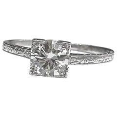 Art Deco GIA 1.01 Carat Diamond Platinum Ring