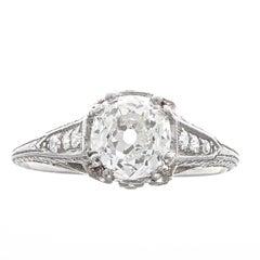 Art Deco GIA 1.02 Carat Old Mine Cut Diamond Platinum Engagement Ring