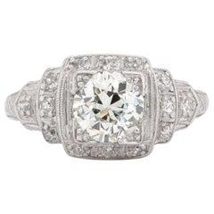 Art Deco GIA 1.03 Carat Old European Cut Diamond Platinum Ring