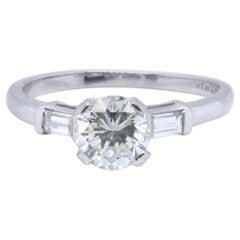 Art Deco GIA 1.03 Carat Round Brilliant Cut Diamond Platinum Engagement Ring
