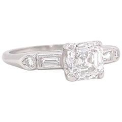 Art Deco GIA 1.10 Carat D Color Emerald Cut Diamond Platinum Engagement Ring