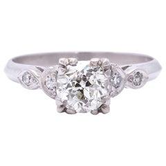 Art Deco GIA 1.11 Carat Diamond Platinum Ring