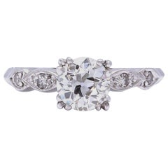 Art Deco GIA 1.14 Carat Old European Cut Diamond Platinum Engagement Ring
