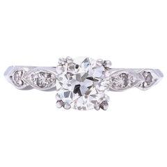 Art Deco GIA 1.14 Carat Old European Cut Diamond Platinum Ring