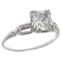 Art Deco GIA 1.16 Carat Diamond Platinum Engagement Ring