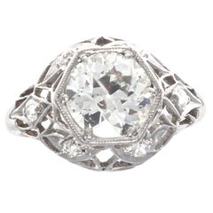Art Deco GIA 1.17 Diamond Platinum Ring