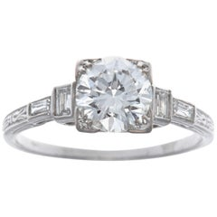 Art Deco GIA 1.19 Carat Old European Cut Diamond Platinum Engagement Ring