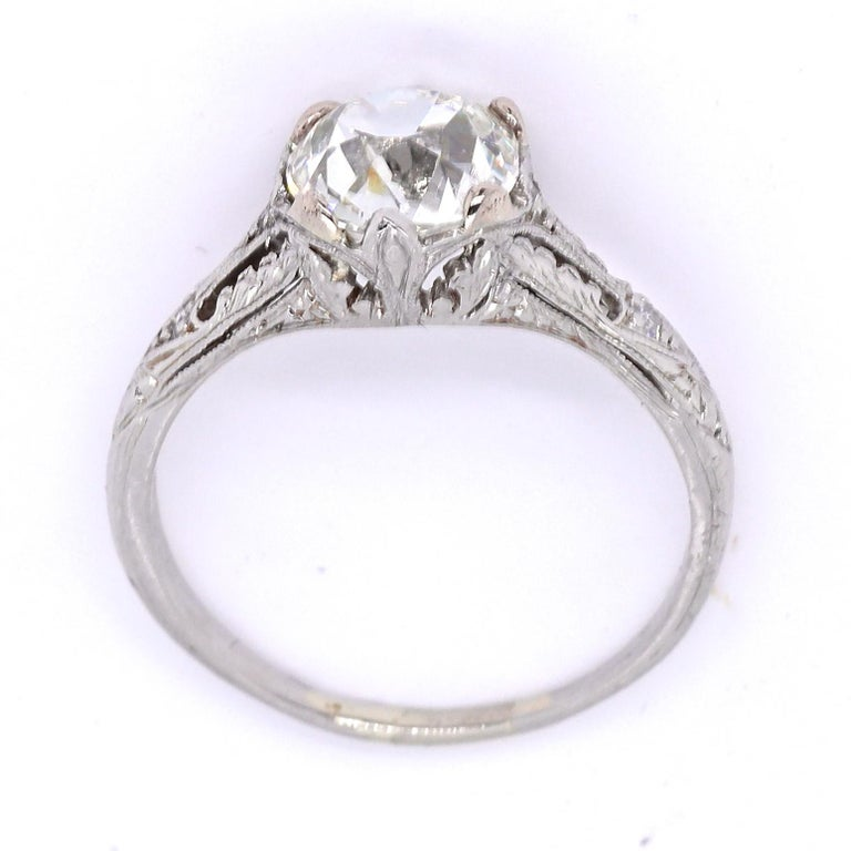 Art Deco GIA 1.20 Carat Old Mine Cut Diamond Platinum Ring In Excellent Condition For Sale In Beverly Hills, CA
