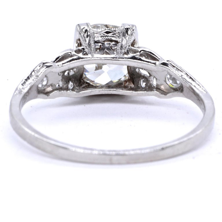 Women's Art Deco GIA 1.20 Carat Old Mine Cut Diamond Platinum Ring For Sale