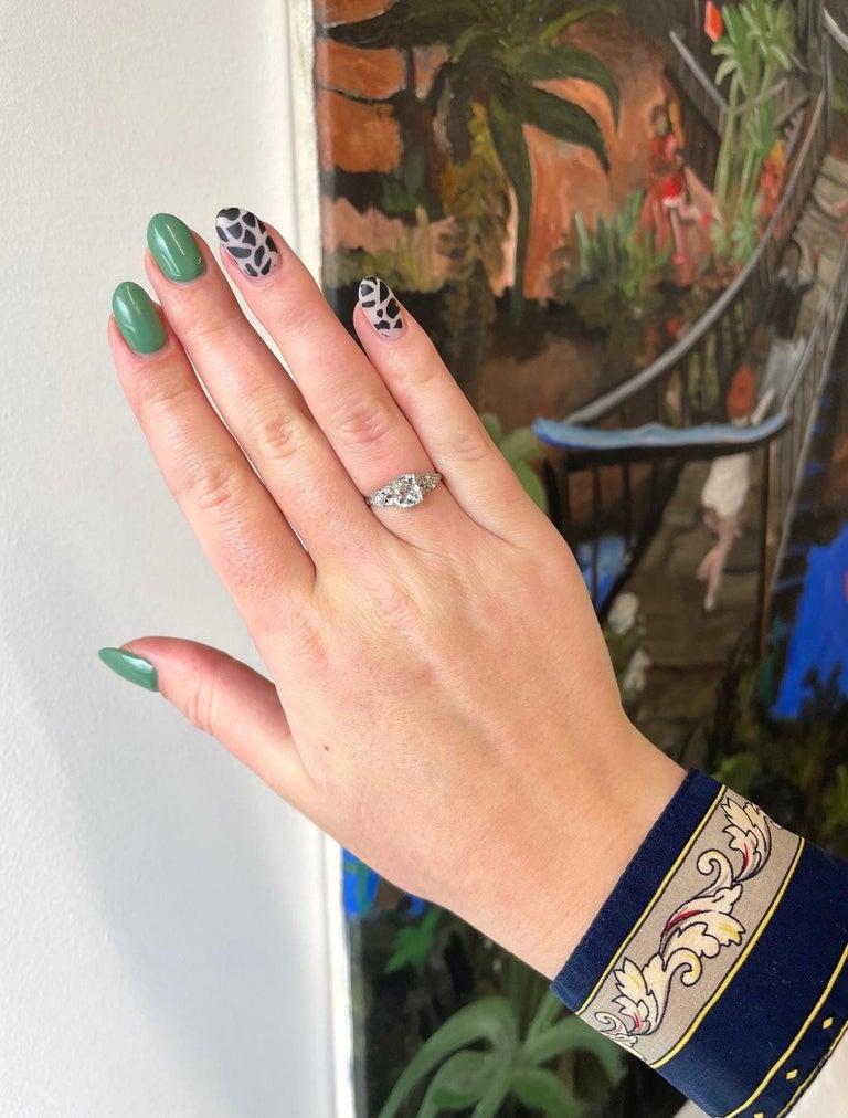 Art Deco GIA 1.20 Carat Old Mine Cut Diamond Platinum Ring For Sale 2
