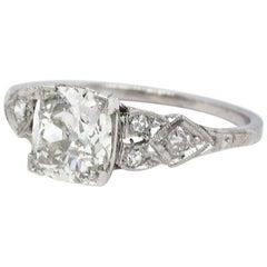 Art Deco GIA 1.20 Carat Old Mine Cut Diamond Platinum Ring