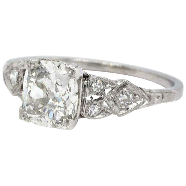 Art Deco GIA 1.20 Carat Old Mine Cut Diamond Platinum Ring For Sale