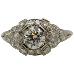 Art Deco GIA 1.27 Carat Diamond Platinum Ring