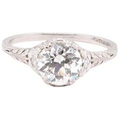 Art Deco GIA 1.34 Carat Old European Cut Diamond Platinum Ring