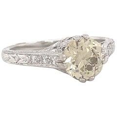 Art Deco GIA 1.39 Carat Fancy Brownish Yellow Diamond Platinum Engagement Ring