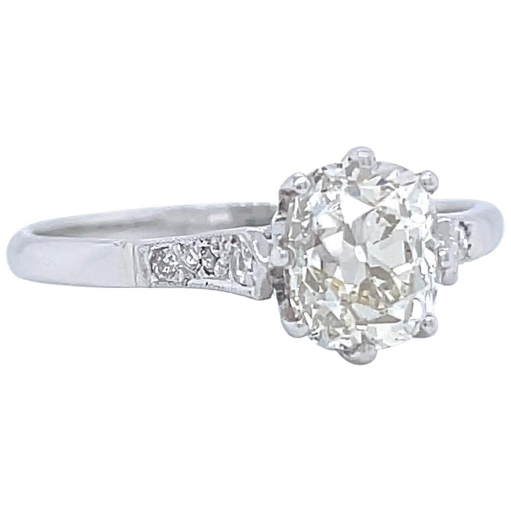 Art Deco GIA 1.51 Carat Antique Cushion Cut Diamond Platinum Engagement Ring