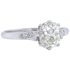 Art Deco GIA 1.51 Carat Antique Cushion Cut Diamond Platinum Engagement Ring
