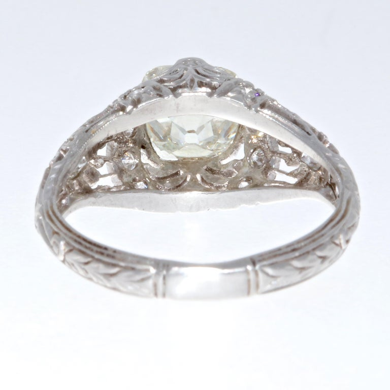 Art Deco GIA 1.51 Carat Old Mine Cut Diamond Platinum Ring For Sale 1