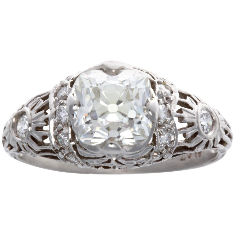 Art Deco GIA 1.51 Carat Old Mine Cut Diamond Platinum Ring For Sale