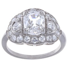 Art Deco GIA 1.52 Carat F SI1 Cushion Cut Diamond Platinum Ring