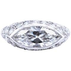 Art Deco GIA 1.53 Carat Marquise Diamond Platinum Micro-Pave Engagement Ring
